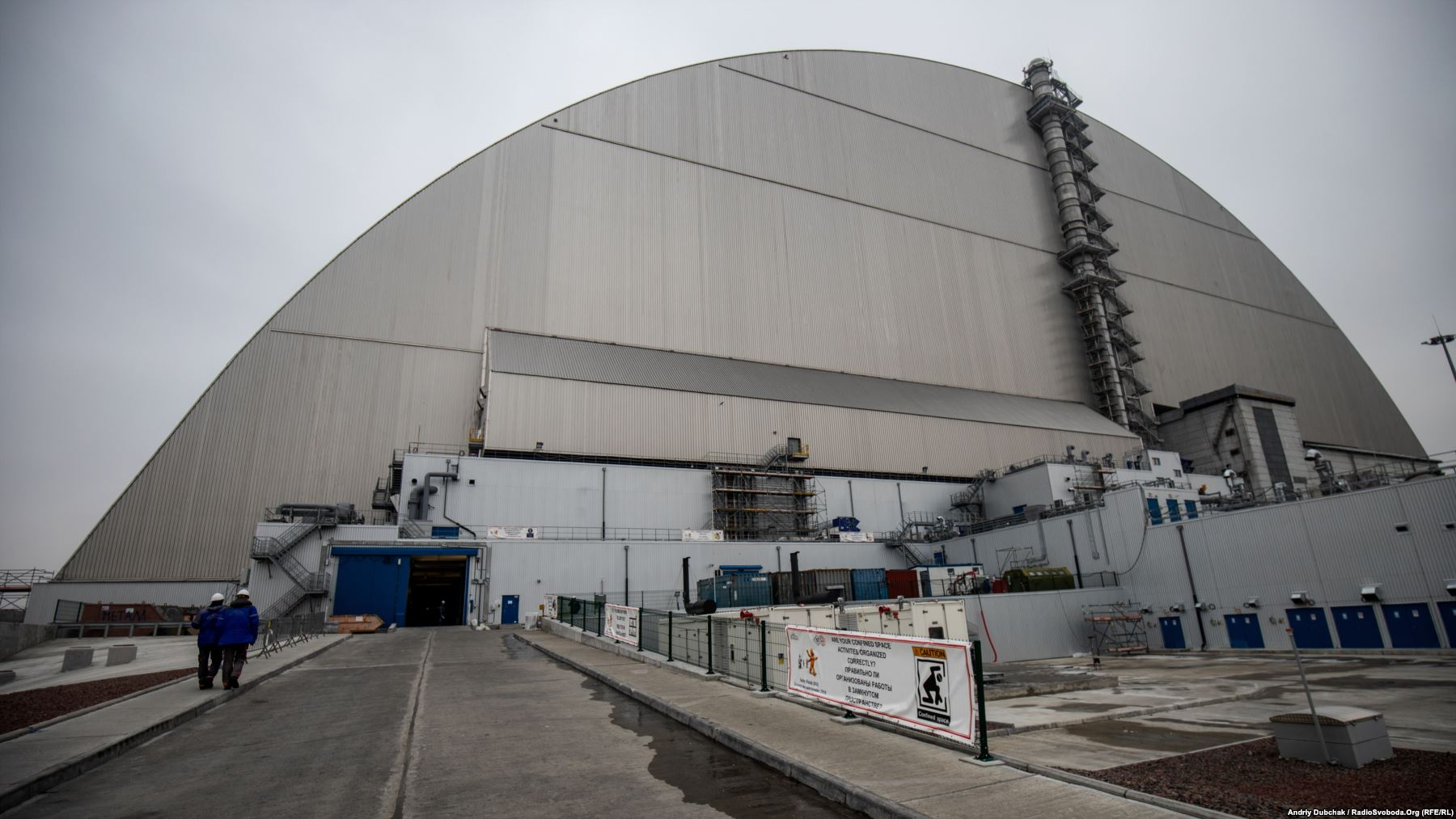 The New Safe Confinement (NSC) was designed to prevent further radiation leaks from Ukraine's stricken Chernobyl nuclear power plant. It took two weeks in November 2016 to slide the massive steel structure into position. At a height of 109 meters and a length of 257 meters, the shield is the world's largest movable metal structure. It covers the crumbling concrete sarcophagus that encased Chernobyl's reactor number four where an explosion in April 1986 spewed tons of radiation across Europe.
