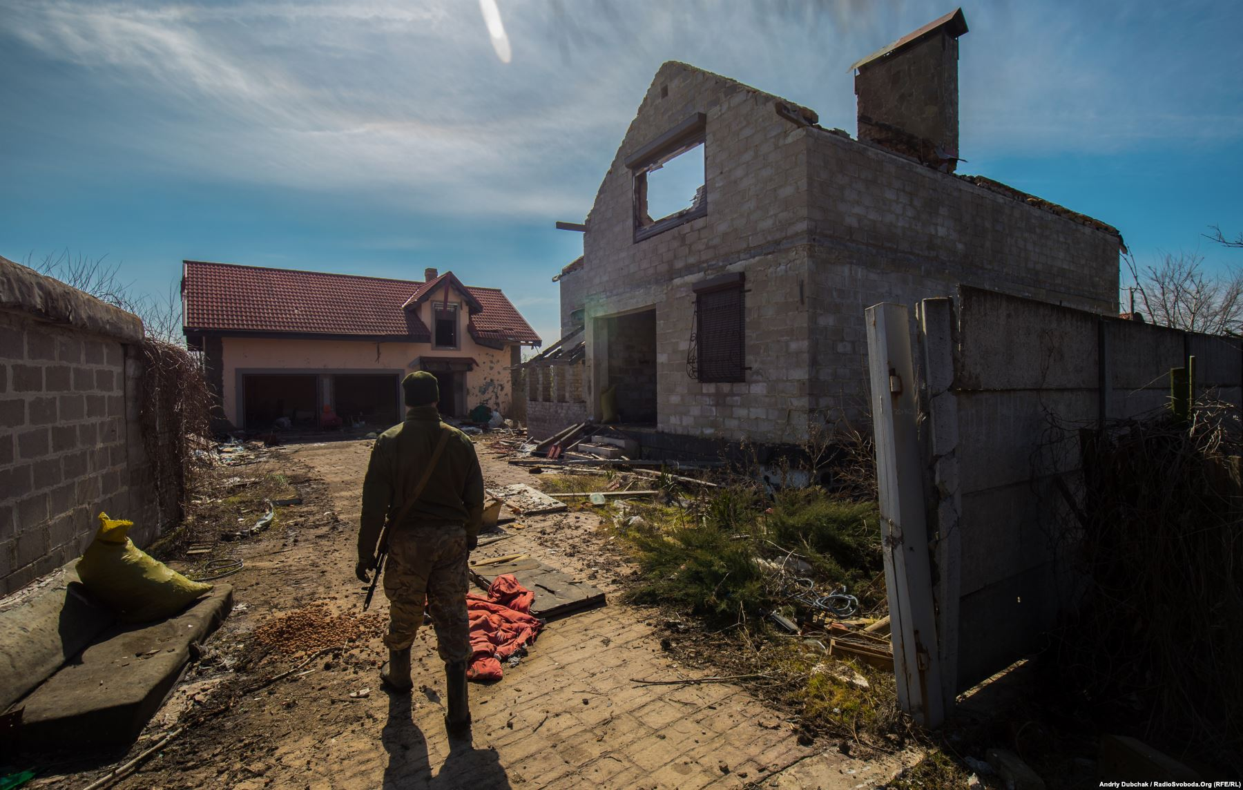 About half of the houses in Vodyane, a holiday village 12 kms from the Black Sea port Mariupol, have been destroyed or damaged beyond repair in fighting between Russia-backed separatists and the Ukrainian military. Photo by: Andriy Dubchak