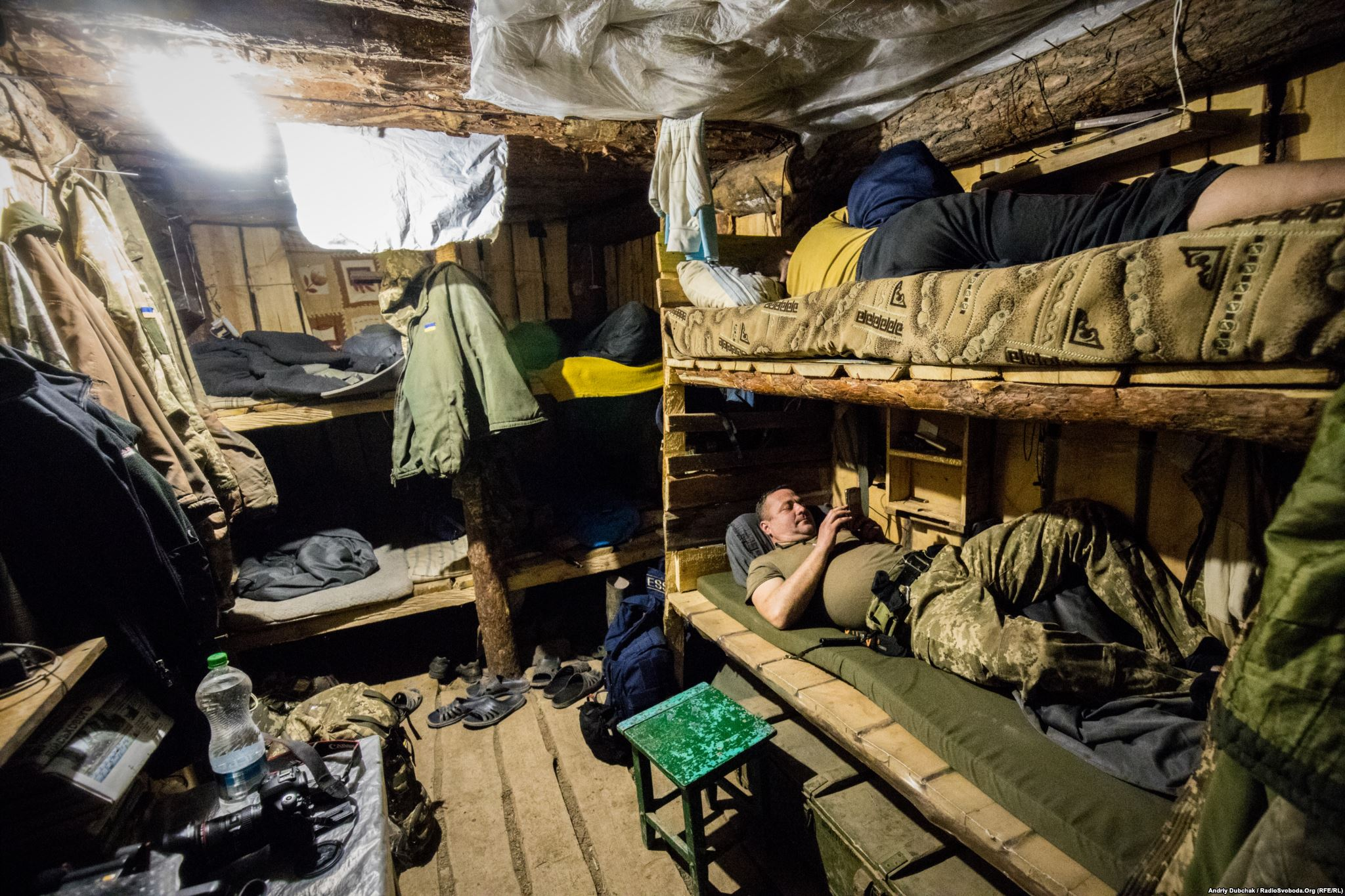 """Sleeping dugout"" housing 10 bed spaces. This is the place where soldiers rest between combat duties (photo by ukrainian military photographer Andriy Dubchak)"