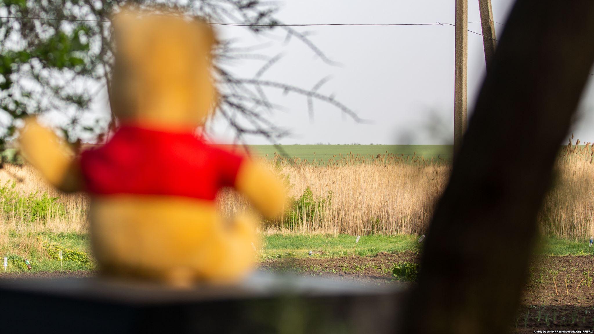 Іграшковий ведмедик на подвір'ї Насті. Дерева за полем – то вже передові у Пісках, а за ними Донецький аеропорт